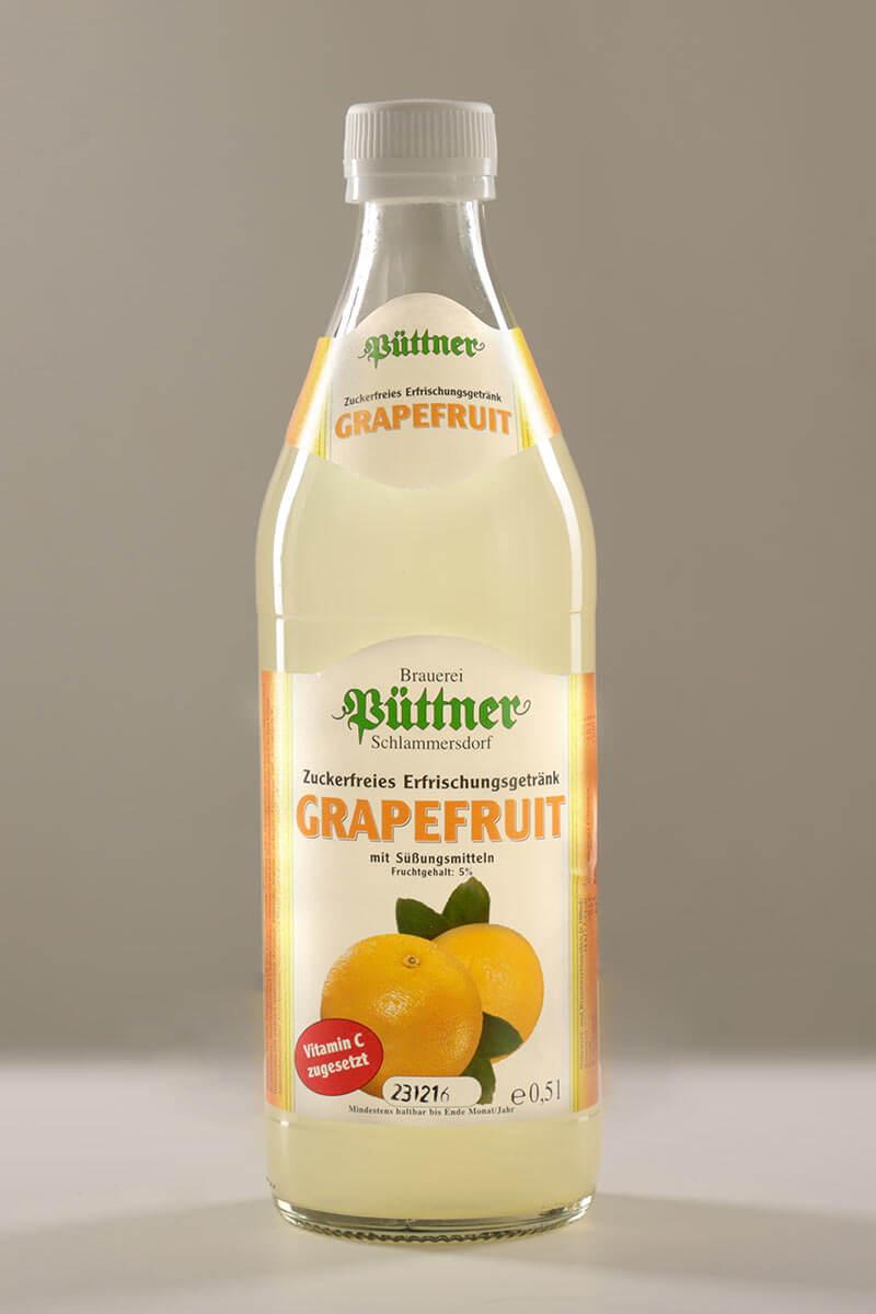 Grapefruit-Diät-Limonade der Püttner Bräu, abgefüllt in Glasflaschen